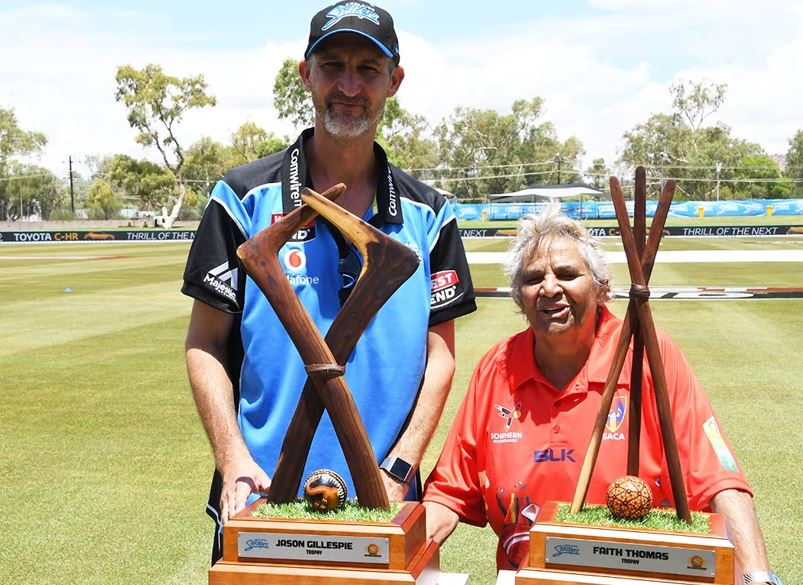 Australian Test Players: Jason Gillespie and Faith Thomas in Alice Springs for the BBL / WBBL 2018